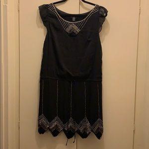 H&M Black Cape sleeved Beaded Flapper dress